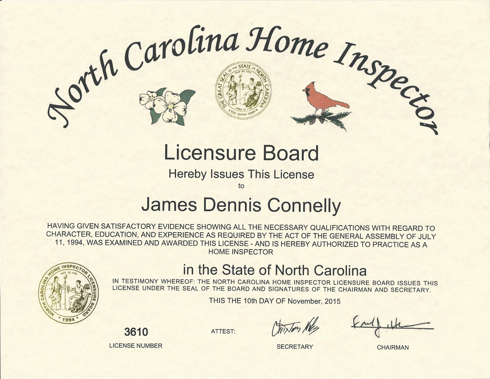 NC Home Inspector License