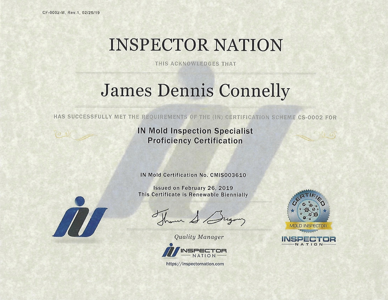 Inspector Nation Mold Proficiency Certificate